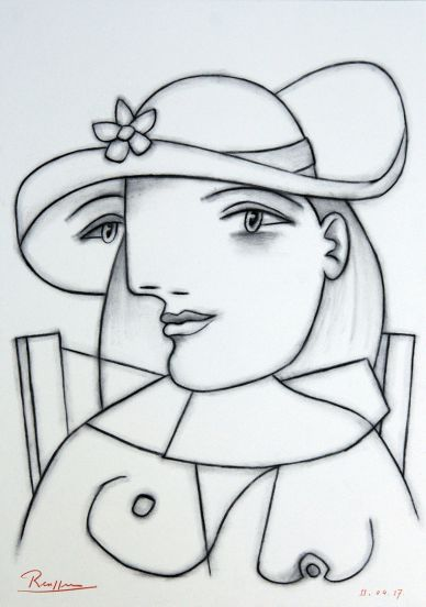 Seated woman with flower on her hat by Erik Renssen