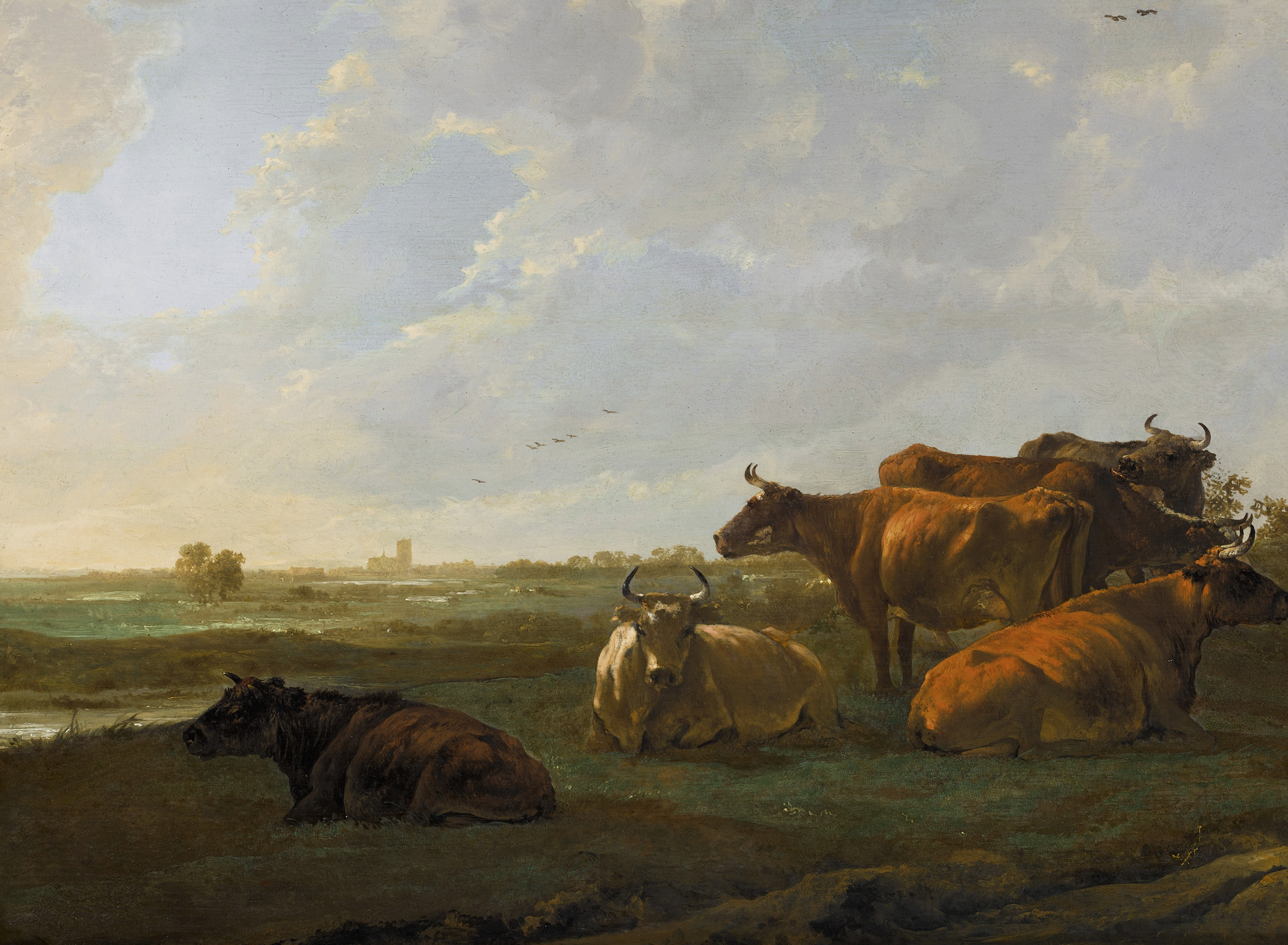 Landscape with cattle grazing on a bank by artist Aelbert Cuyp