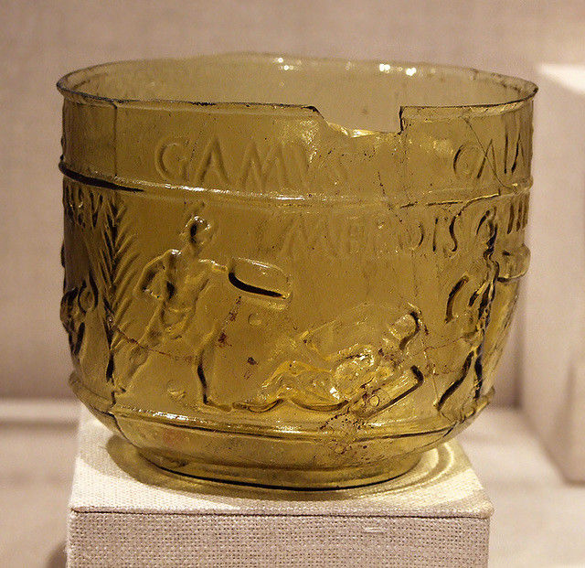 Type of glass art titled Roman Gladiator cup blown in a two-part mold