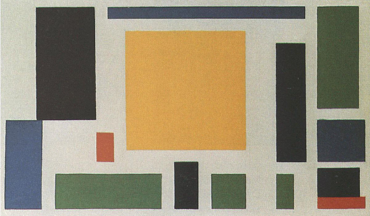 Abstract work by Theo van Doesburg, Composition VIII (the cow), ca. 1918