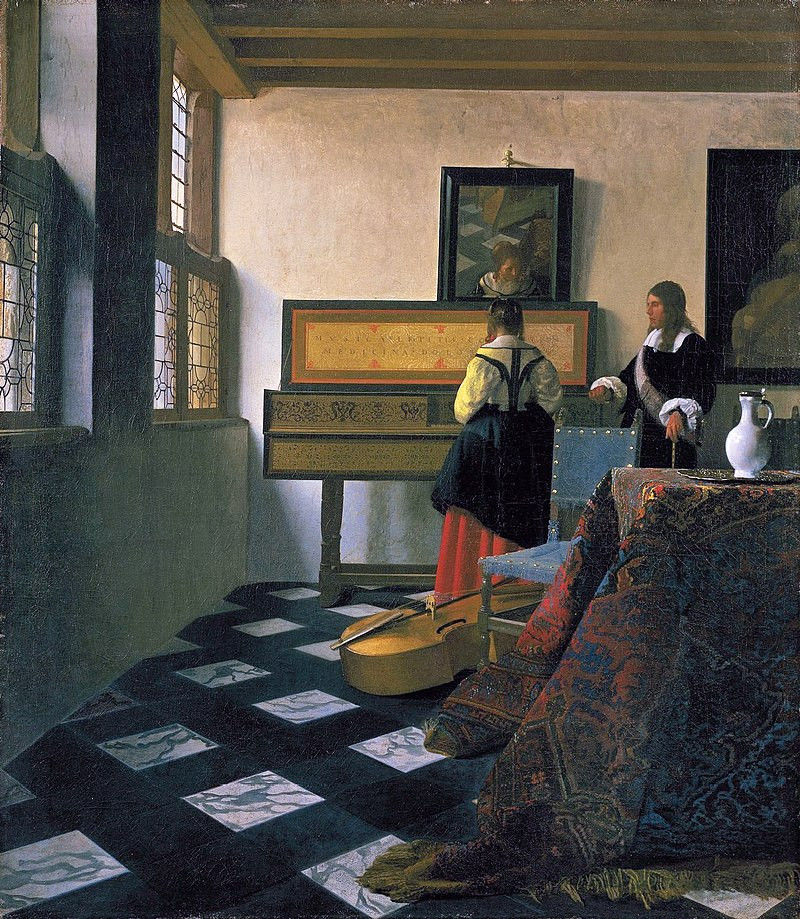 Articel figurative art: Example of a realistic painting, Johannes Vermeer, The Music Lesson (1662)