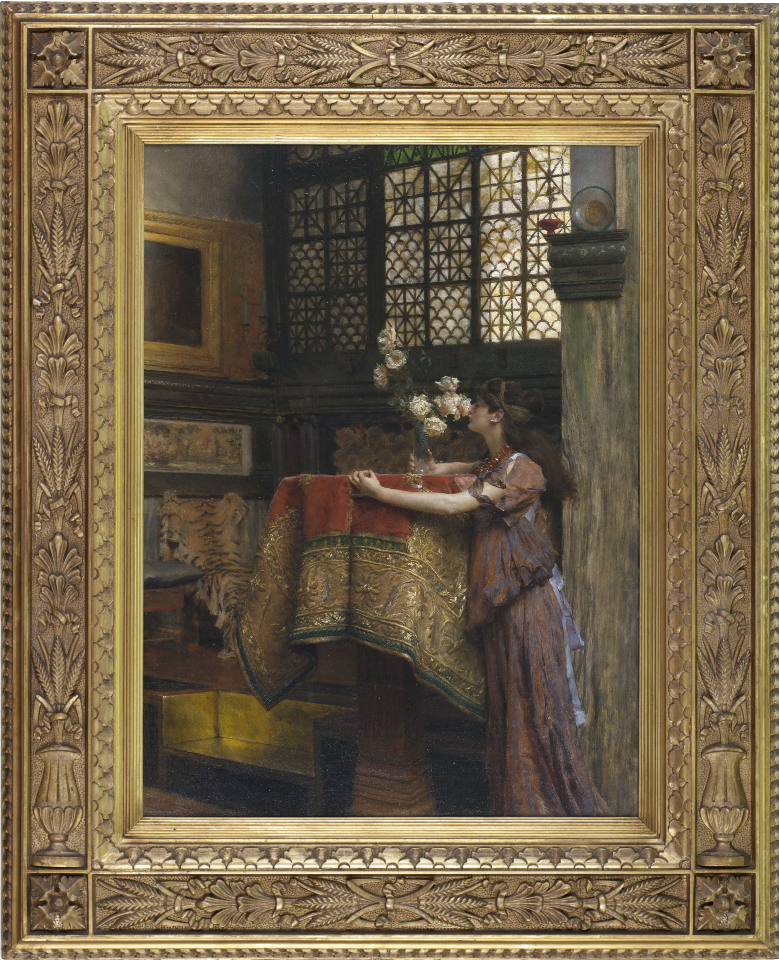 Painting Alma Tadema, 'In my Studio', with a beautiful frame, 1893