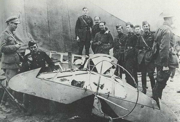 the Red Baron plane after it has been crashed