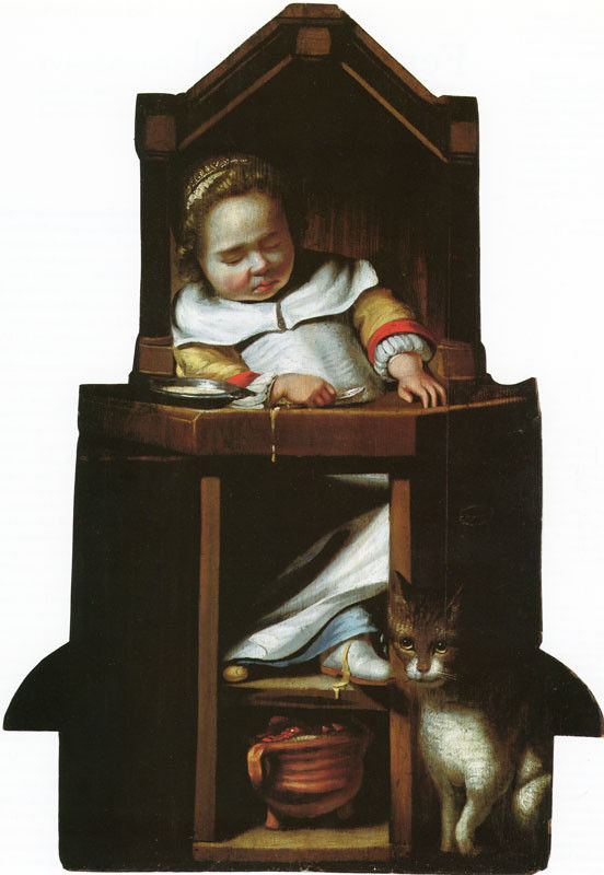 Attributed to Johannes Cornelisz. Verspronck (Haarlem, 1600-1662) -  Dummy board of a sleeping boy in his high chair ca. 1650, oil on panel.