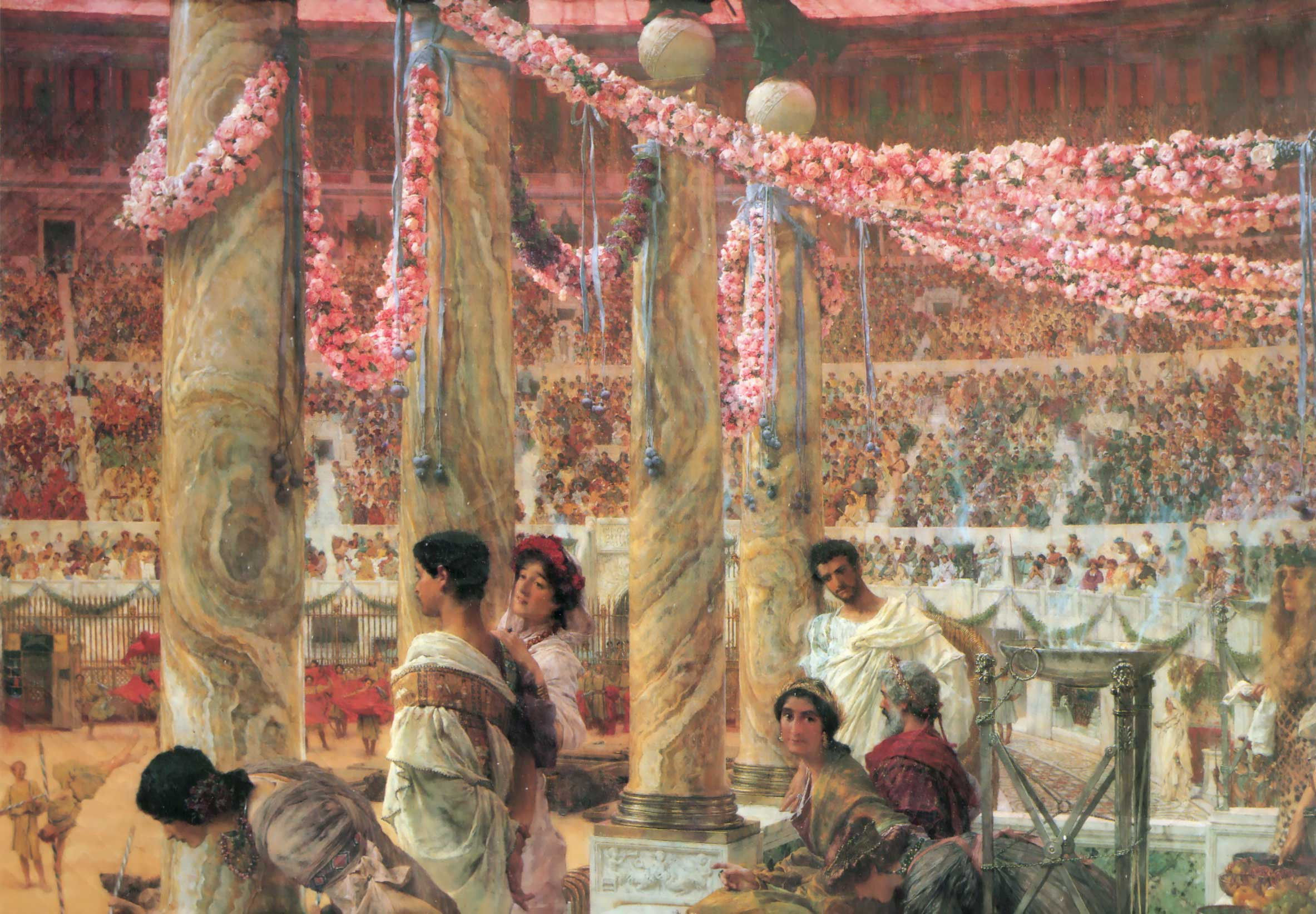 Painting of Alma Tadema 'Caracalla and Geta, Bearfight in the Colloseum AD 203', also available as an origimal engraving at Gallerease