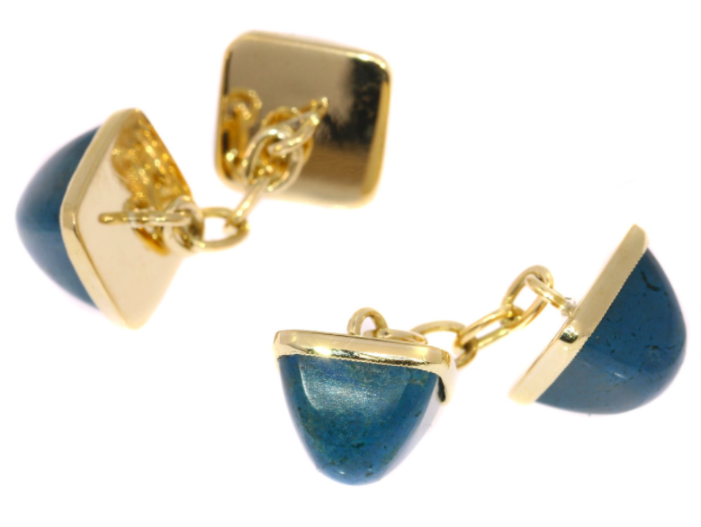 Vintage cufflinks with gold and precious stones