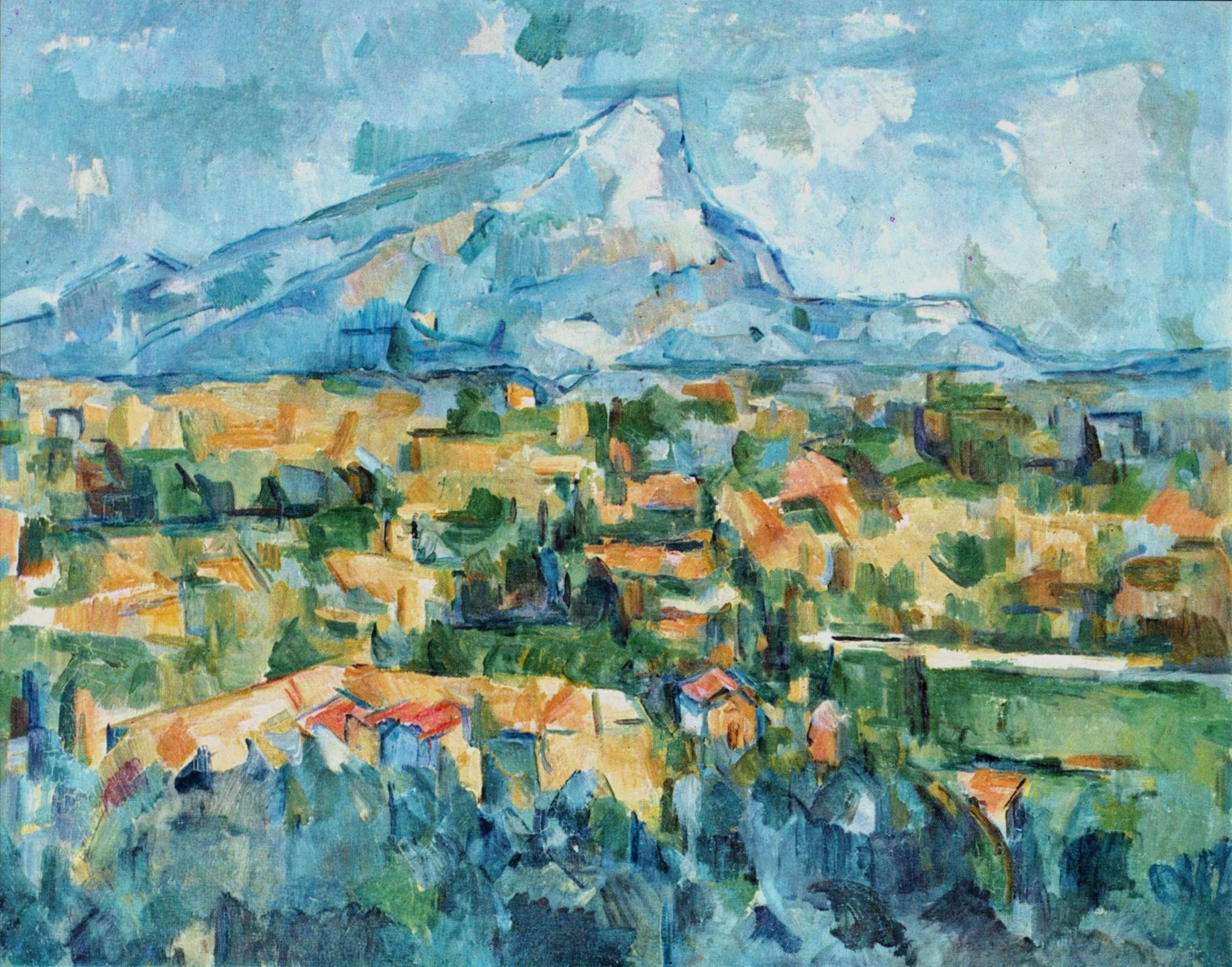 Abstract painting by Paul Cezanne from 1904, Montagne Sainte-Victoire