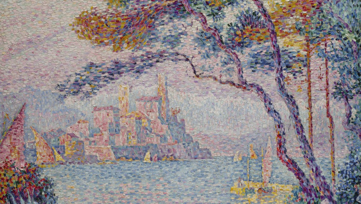 Example of a colourful impressionistic landscape by impressionist painter Paul Signac,