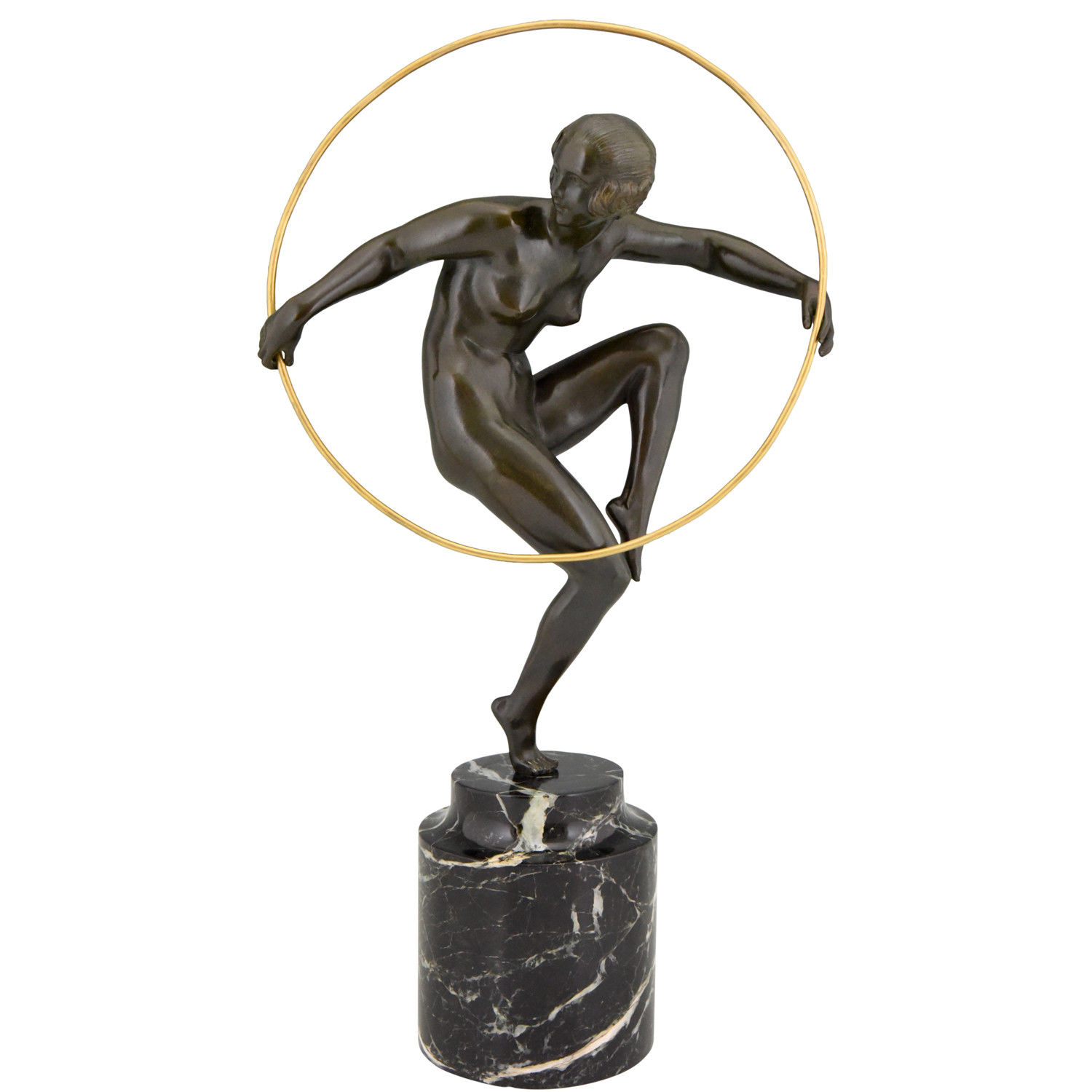 Art deco 'Nude Hoop Dancer' by Andre Marcel Bouraine (Briand), c.a. 1925, by gallery 'Het Ware Huis'