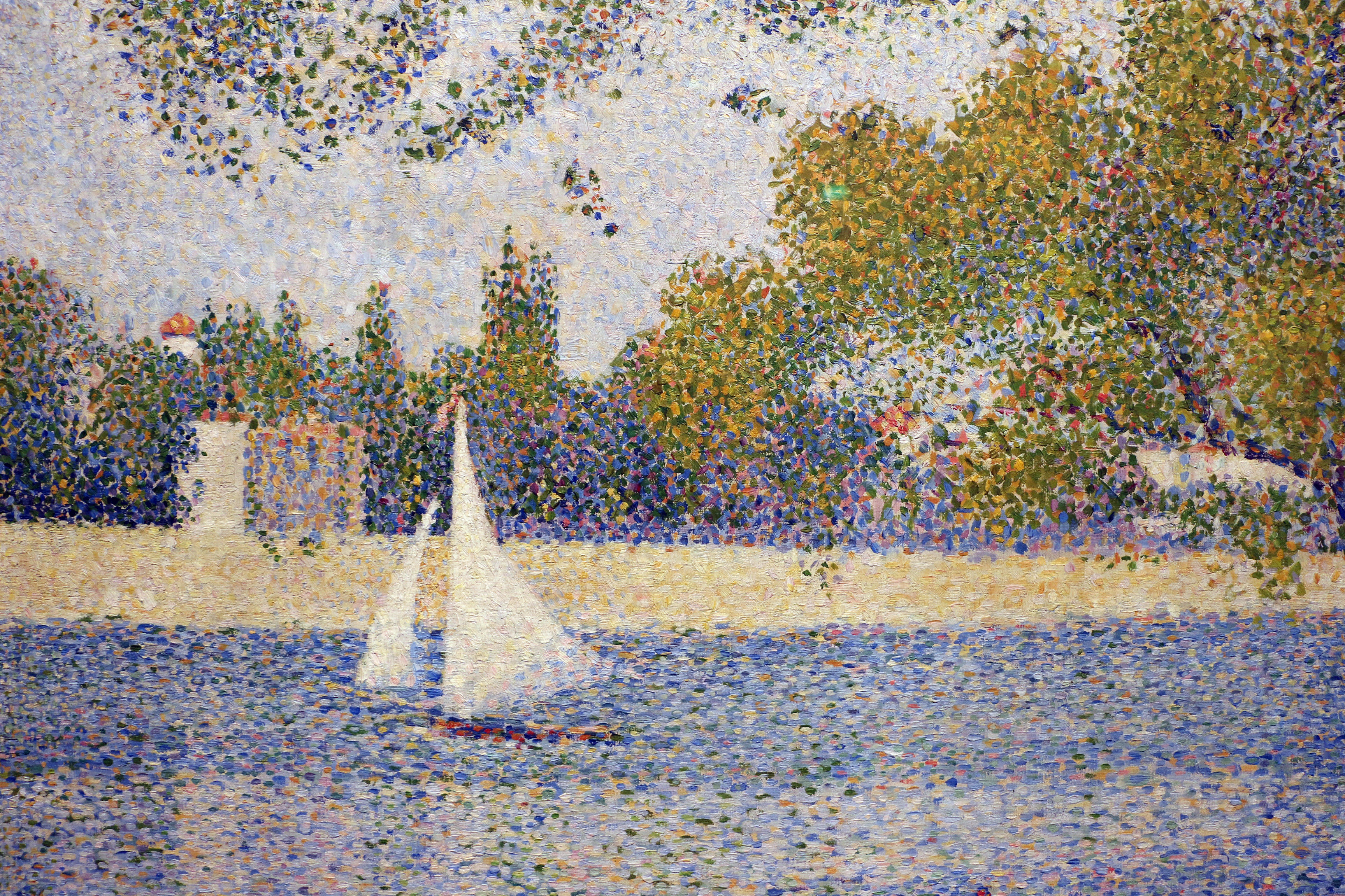 Abstract painting by Georges Seurat (1859-1891) The Seine at the Grand Jatte Spring 1888