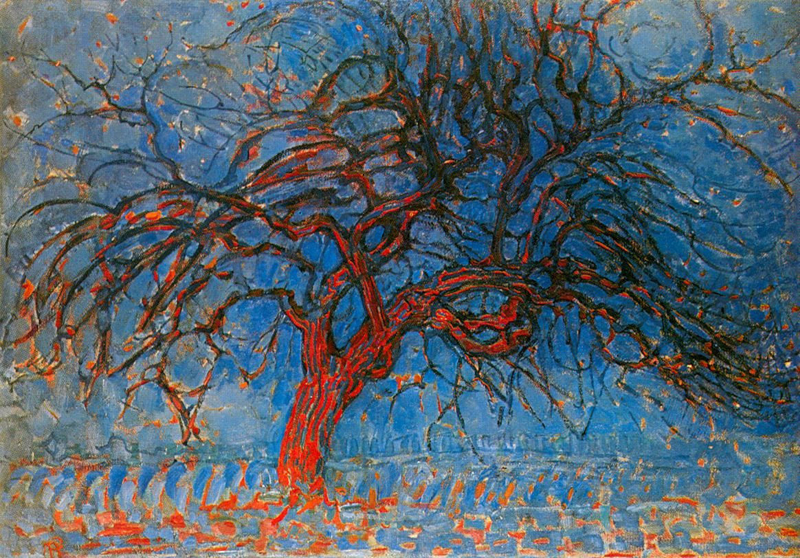 Abstract oil painting Piet Mondrian, The Red Tree from 1908