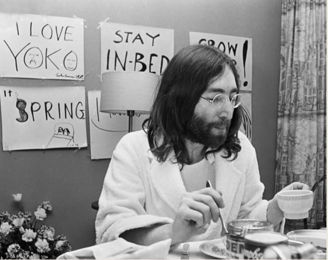 John Lennon having Breakfast at Amsterdam Hilton Hotel