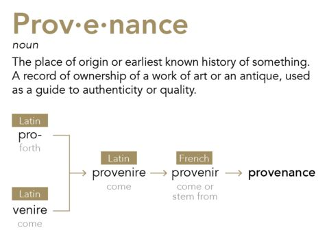 Provenance; the meaning of this word