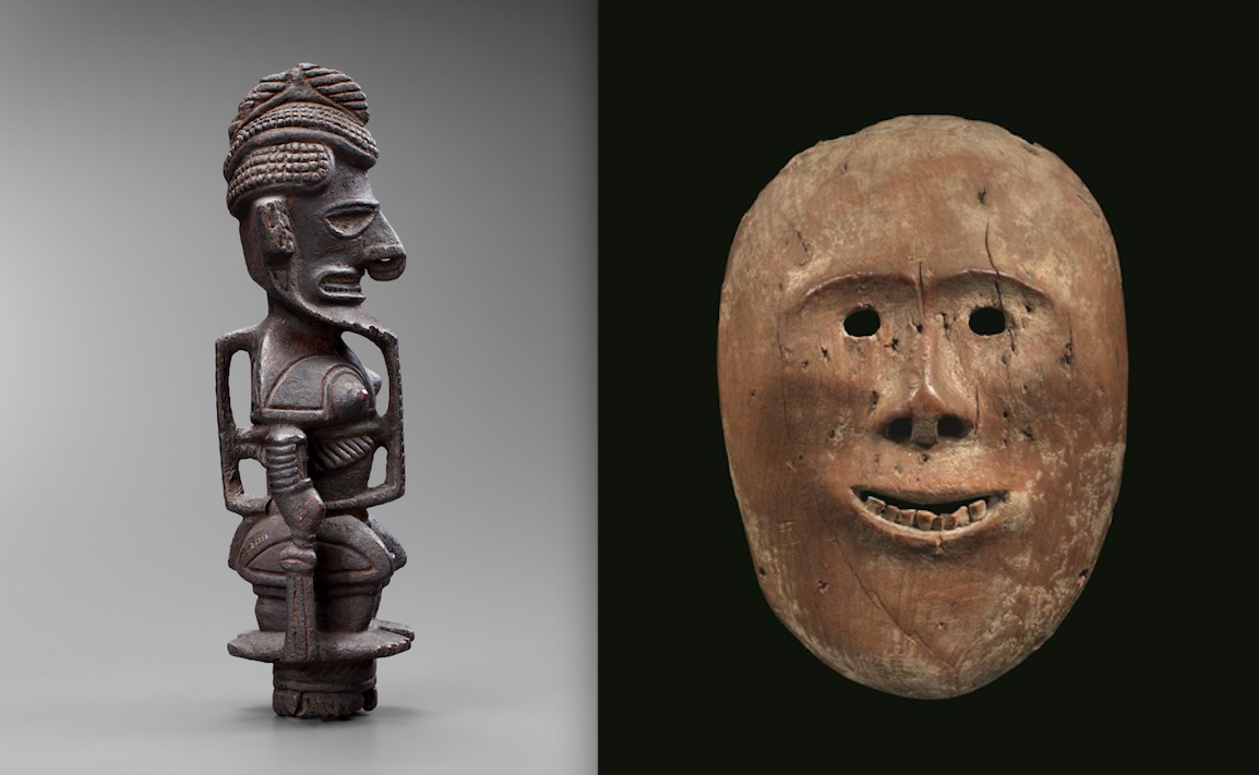 Standing Statue, Black Uli and Mask representing an ancestral spirit