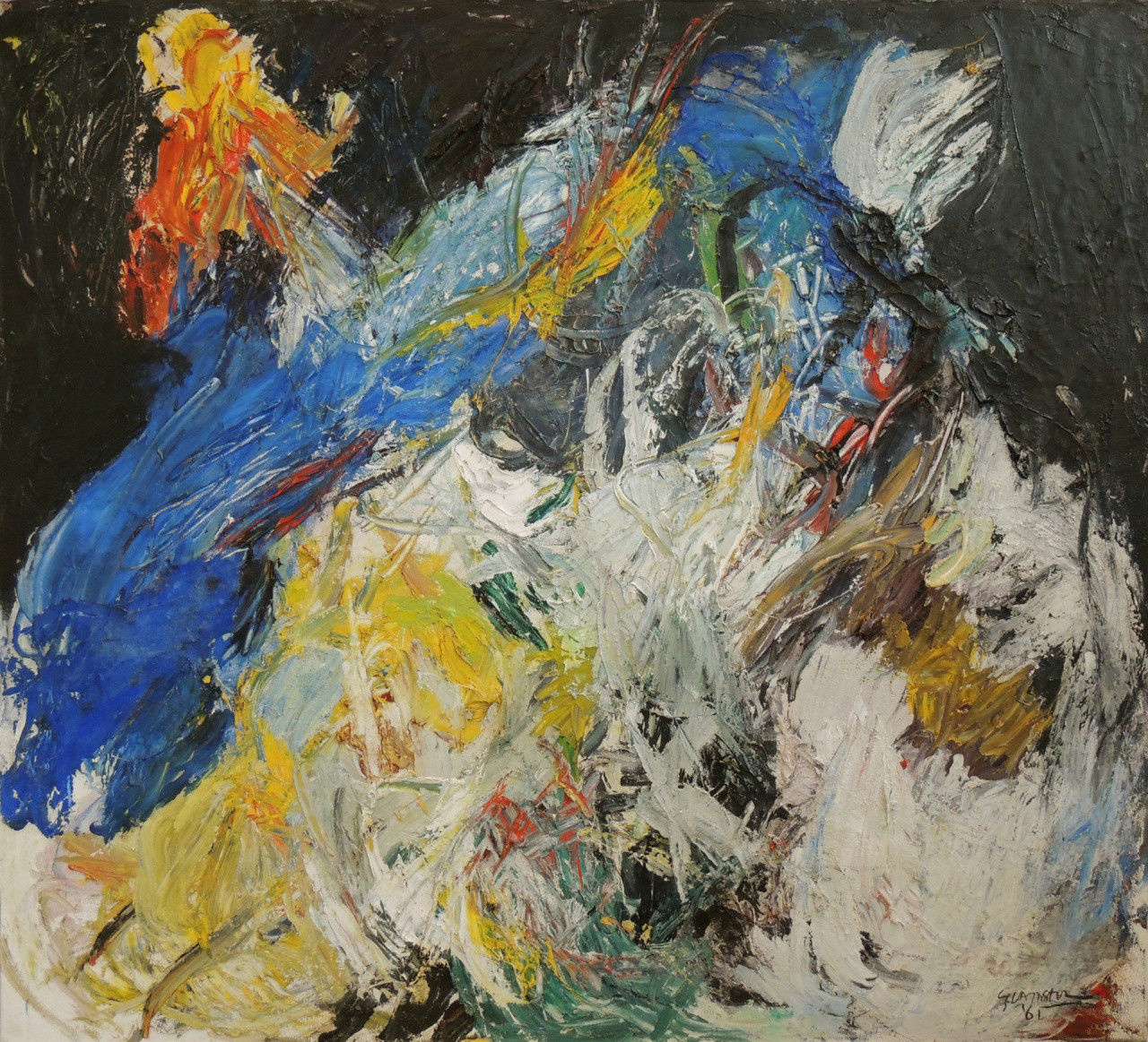 Abstract oil painting, La Nuit, Ger Lataster, 1961.