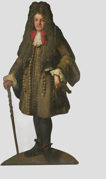 Unknown maker- England ca 1690. Life-size cut-out painting of a man holding a cane. Oil on wood on lined canvas.  Victoria and Albert Museum (property number W.62-1931)