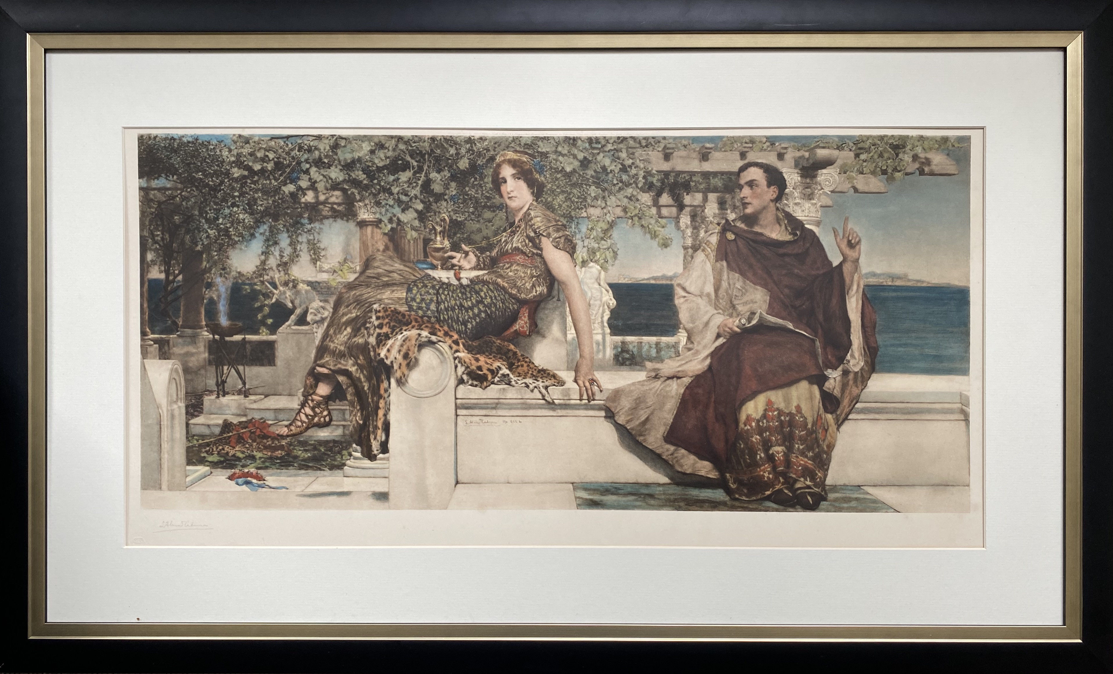 A beautiful origianl and hand coloured photogravure of Alma Tadema 'The conversion of Paula by St. Jerome'
