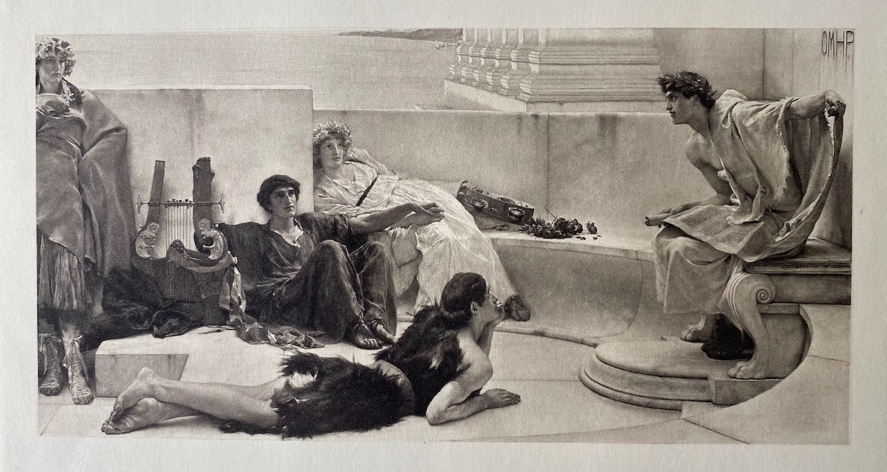 Alma Tadema 'Reading from Homer', original photogravure from c.a. 1885