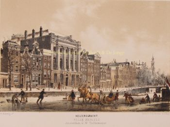 Ice skating on Keizersgracht  by  P. Blommers after Willem Hekking jr.