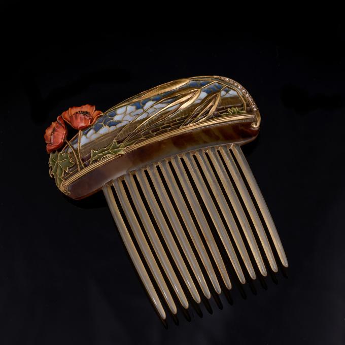 Masriera Art Nouveau hair comb by Masriera Hermanos