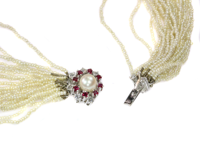 Vintage pearl necklace with 13000+ pearls and white gold diamond ruby closure by Unknown