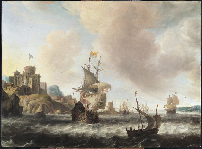 A Dutch Three-master and other ships off 'T'Sondt' a Rocky Swedish Coast by Jan Abrahamsz. van Beerstraten