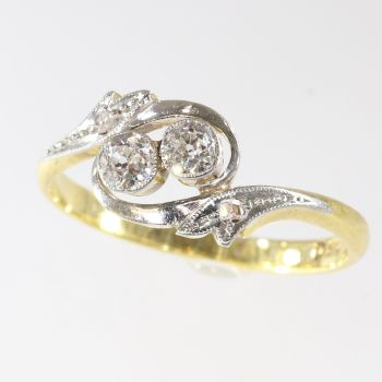 Estate engagement ring cross over or the romantic toi et moi by Unknown Artist