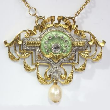 Vintage Belle Epoque brooch and pendant on chain enameled set with 109 diamonds by Unknown Artist
