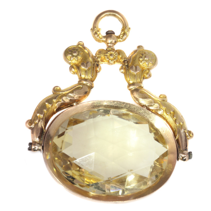 Antique Dutch gold chatelaine pendant with huge citrine of over 100 crts by Unknown Artist