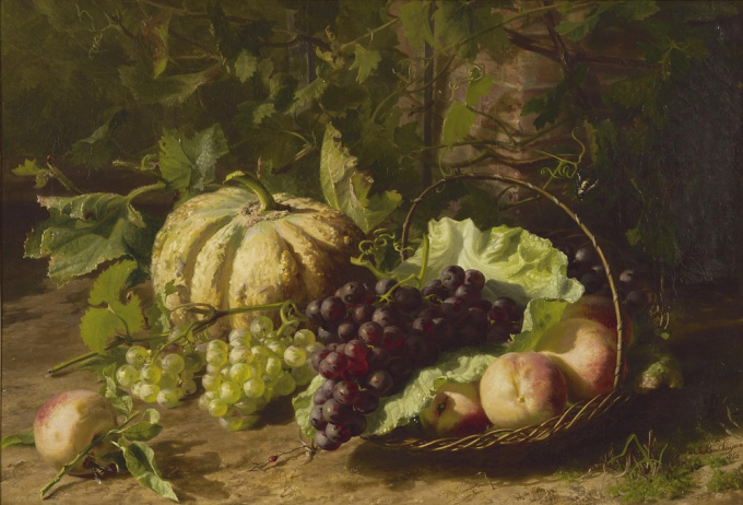 Still life with fruit by Geradina Jacoba van de Sande Bakhuyzen