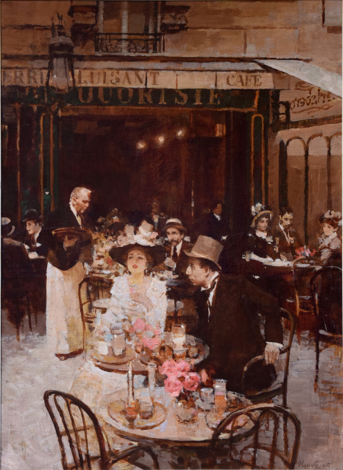 Crowded Parisian Brasserie by Victor Guerrier