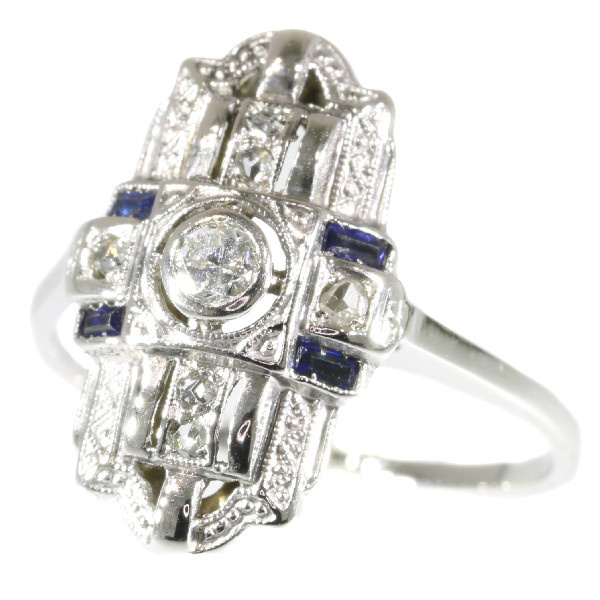 Real vintage Art Deco diamond and sapphire engagement ring by Unknown Artist