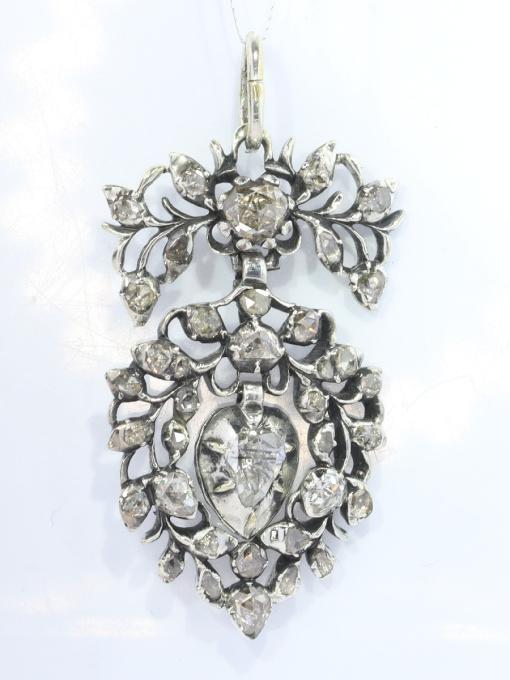 Antique Flemish diamond heart pendant circa 1700 by Unknown
