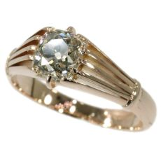 Victorian antique diamond ring with big cushion cut old mine cut diamond by Unknown