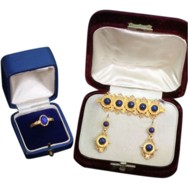 Neo-etruscan revival parure ring brooch earrings filigree granules lapis lazuli by Unknown