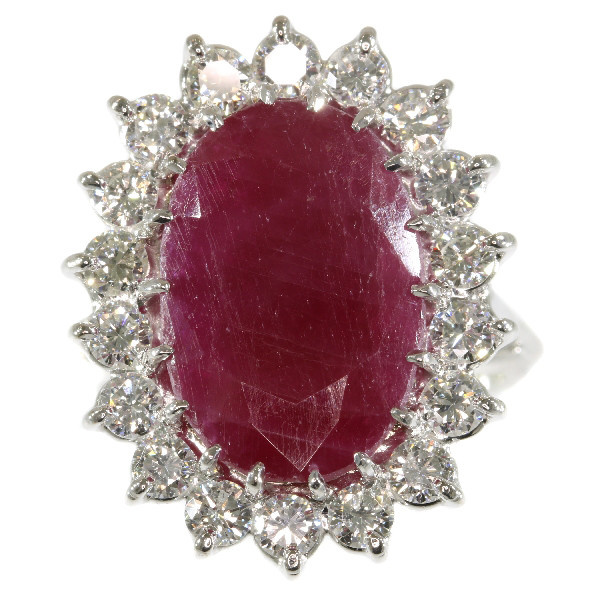 Stunning cocktail ring with one big natural untreated ruby 11.21crt and diamonds by Unknown Artist