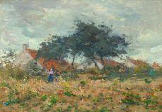 """Gezicht op boerin in het veld"" by Lucien Frank"