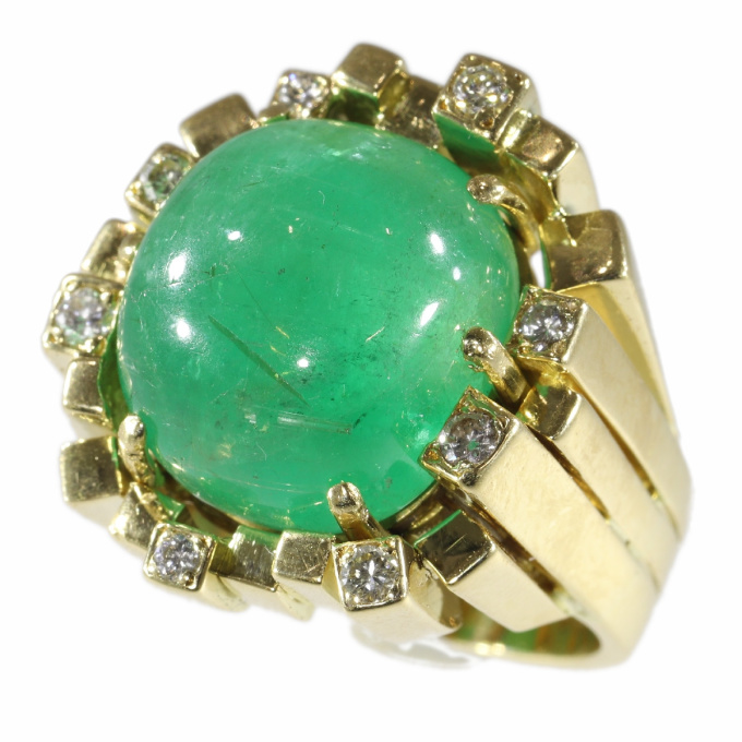 Vintage Seventies Modernistic Artist Design ring with large emerald and diamonds by Unknown Artist