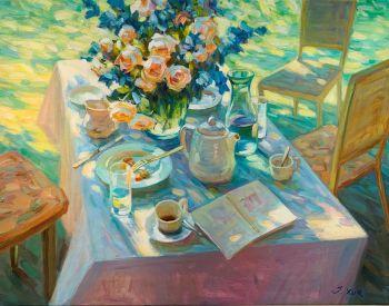 Boeket uit eigen tuin - Bouquet from my own Garden - Oil on Linnen - In Stock by Juane Xue