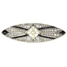 Vintage Art Deco diamond onyx and pearl brooch by Unknown Artist