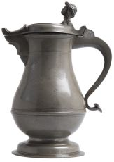 A Swiss pewter flagon of the 'Rundele' type