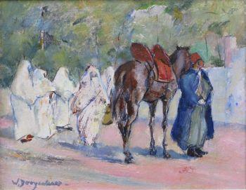 Women and cameldriver in Maroc Tanger by Willem Dooijewaard