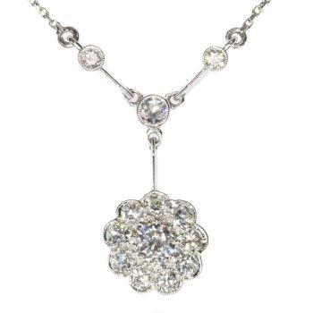Vintage Art Deco platinum diamond chandelier necklace by Unknown Artist