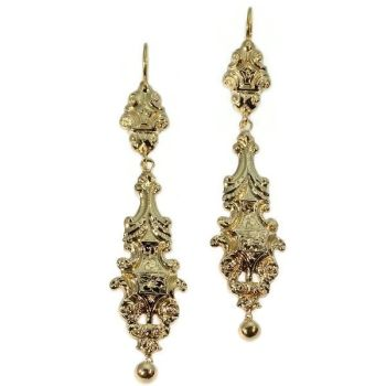 Long pendant Victorian gold earrings by Unknown Artist