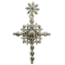 Antique Victorian Flemish cross with rose cut diamonds by Unknown Artist