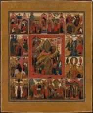 No 3 Palech Icon of the Anastasis and the Twelve Main Feasts by Unknown Artist
