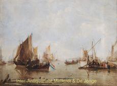 Calm estuary with Dutch ships  by  Luis Haghe after Jan van de Capelle