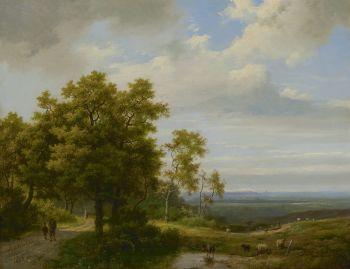 Land folk on a wooded path by Marinus Adrianus I Koekkoek