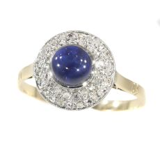 Vintage Art Deco diamond and high domed cabochon sapphire ring by Unknown Artist