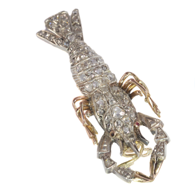 Antique gold and silver crayfish brooch fully embelished with rose cut diamonds by Unknown Artist